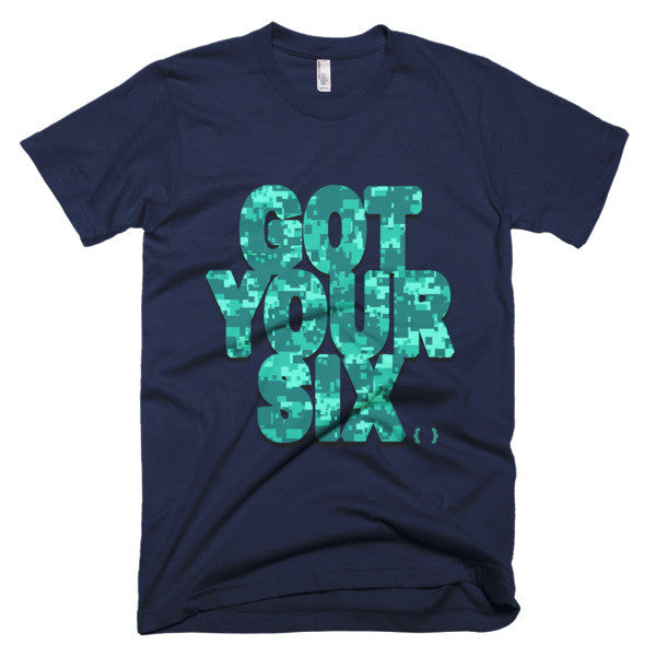 Got Your Six Teal Camo Short Sleeve Men's T-Shirt-Military-Law Enforcement-Brotherhood-LEO-Armed Forces