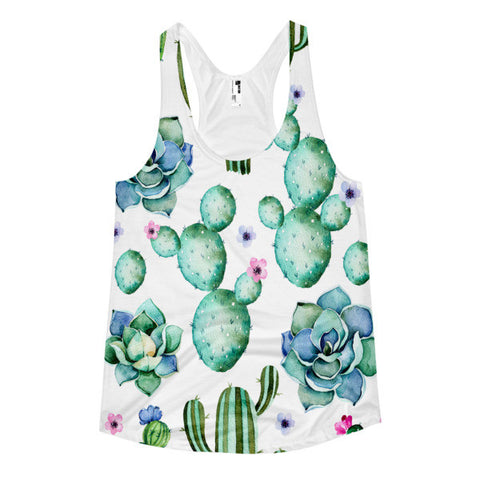 Cactus & Succulent Women's Racerback Tank-All Over Print-Ladies'Tee