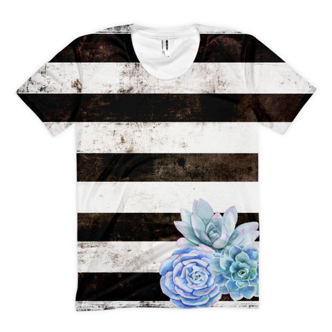 Black and White Stripe Succulent All Over Print Tee-Women's T-shirt