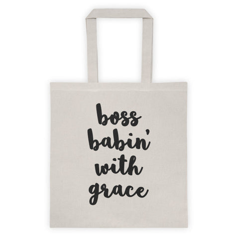 Boss Babin' With Grace Canvas Tote bag-Lady Boss-Boss Babe