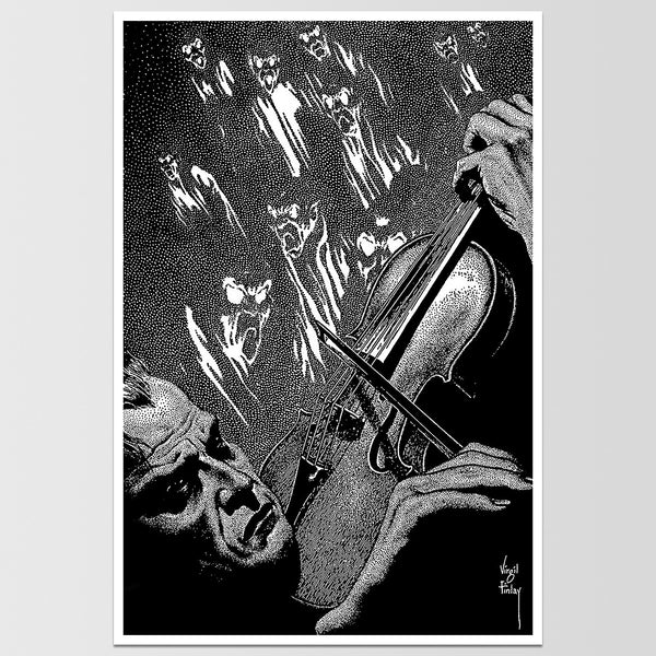 Haunted Violin Virgil Finlay Art Print *REMASTERED*