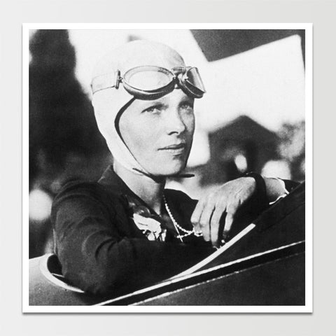Amelia Earhart in Plane Print *REMASTERED*