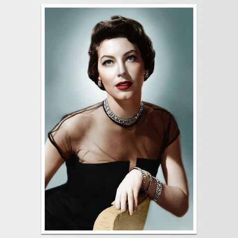 "Ava Gardner Teal Background Print 12X18"" *REMASTERED*"