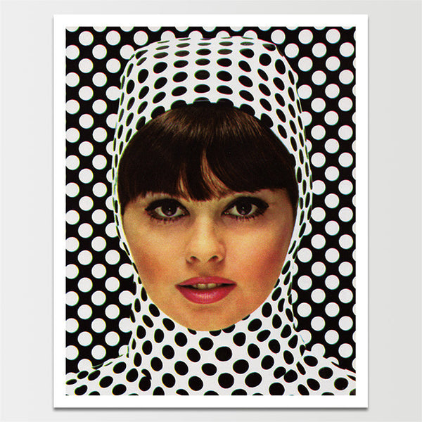 "Sale! 6X8"" Vintage 1960's Polka Dotted Lady Print *REMASTERED*"