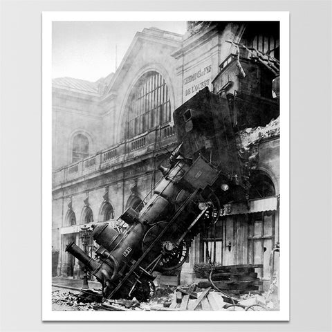 1800's Train Wreck at Montparnasse Poster Print *REMASTERED*