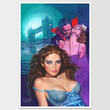 Vampire Over Tower Art Print Zora la Vampire  *REMASTERED*
