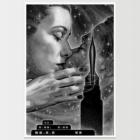 Cosmic Kiss by Virgil Finlay Art Print *REMASTERED*