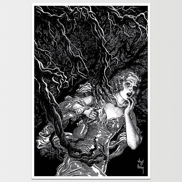 Evil Dead Tree Attack Virgil Finlay Art Print *REMASTERED*