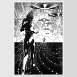 Girl Running From UFO Virgil Finlay Art Print *REMASTERED*