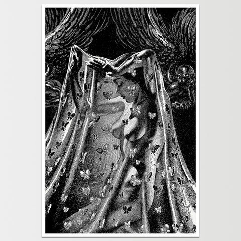 Nude with Butterfly Net Virgil Finlay Art Print *REMASTERED*