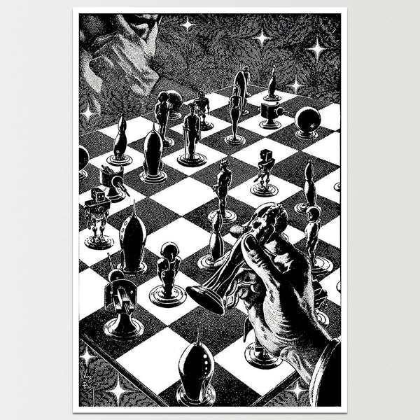Space Chess Virgil Finlay Art Print *REMASTERED*