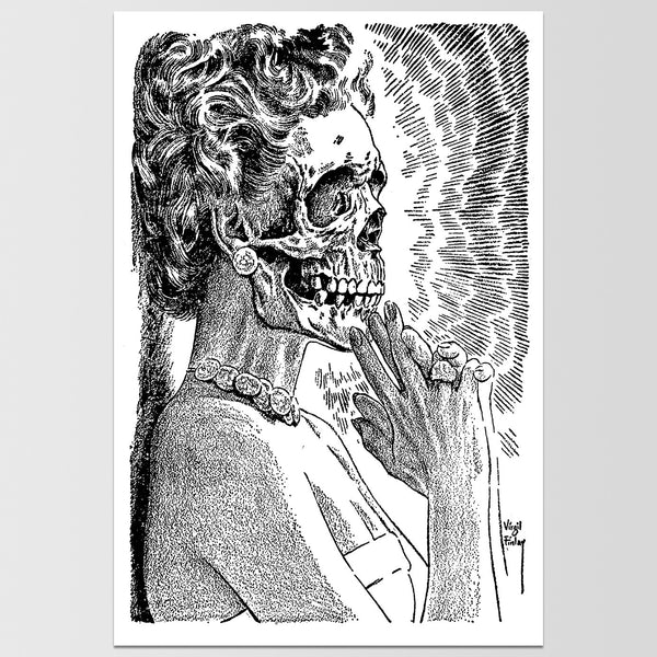 Woman with Skull Face Virgil Finlay Art Print *REMASTERED*