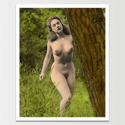 Vintage 1950's 'Nympho in Nature' Pinup Model Print *REMASTERED*