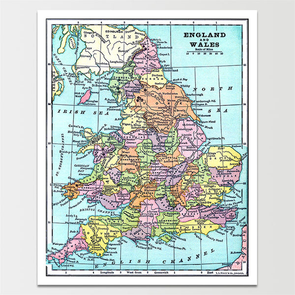 Vintage England & Wales Map *REMASTERED*