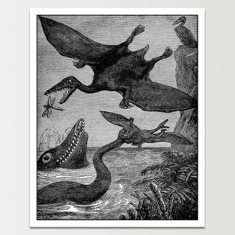 1800's Wild Dinosaurs Pterodactyl Science Illustration Print *REMASTERED*