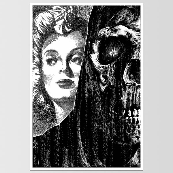 Skull Face Grim Reaper Virgil Finlay Art Print *REMASTERED*