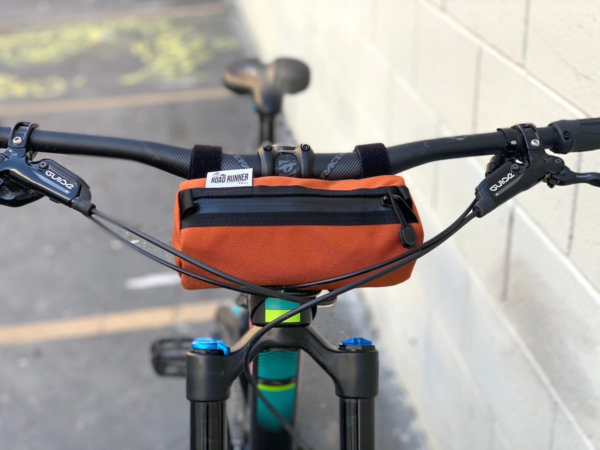 Road Runner Bags Burrito Handlebar Bag for road cycling, mounting biking, MTBing and Gravel Grinding
