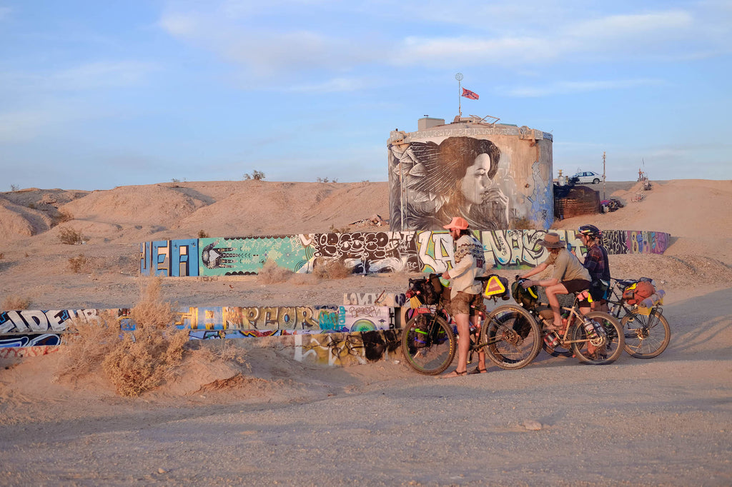 Bike Packing with Road Runner Bags at the Salton Sea with made in musa bags for bikes