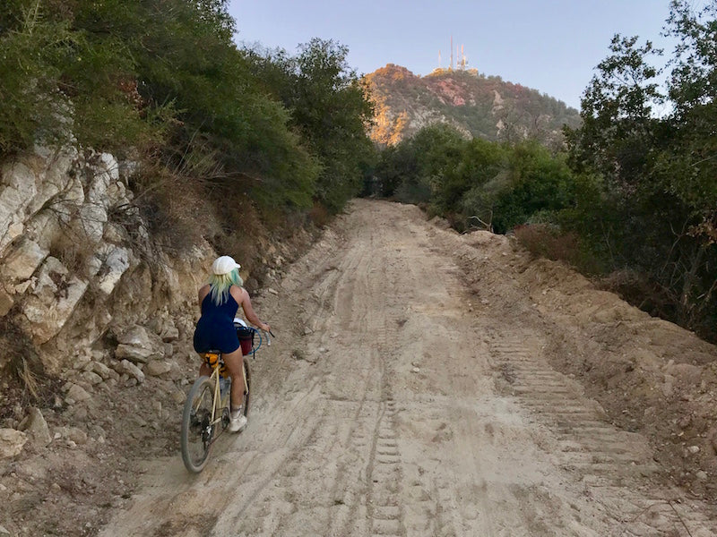 Ester Gravel Climbing Mt. Wilson Toll Road on her All Road Bike