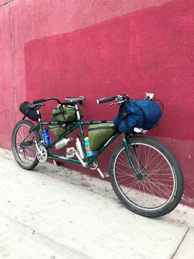 IBIS MTB Tandem for mountain biking, bike packing, bike touring and commuting with road runner bags hand made in los angeles MUSA