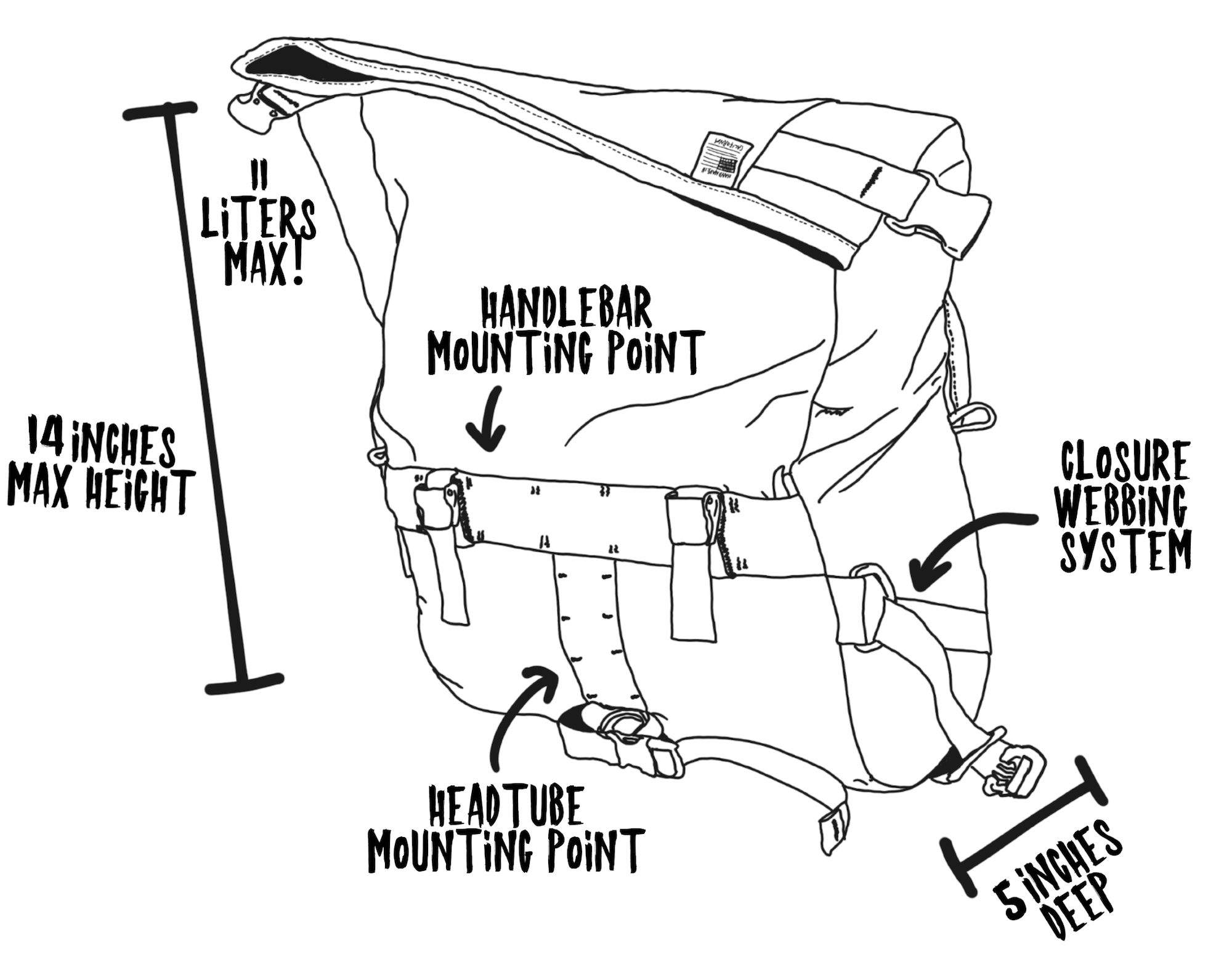 Jammer Bag Informational Sketch Back View Expanded