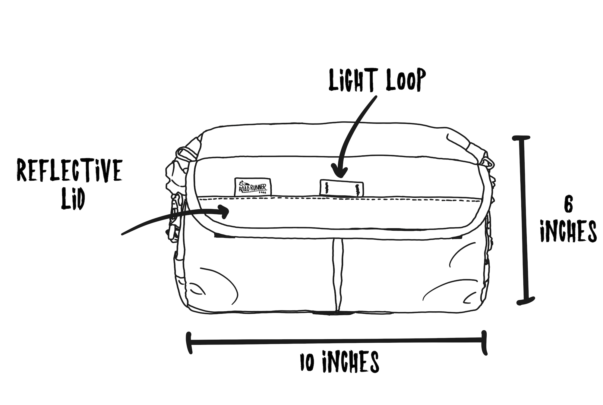 Jammer Bag Informational Sketch Front View