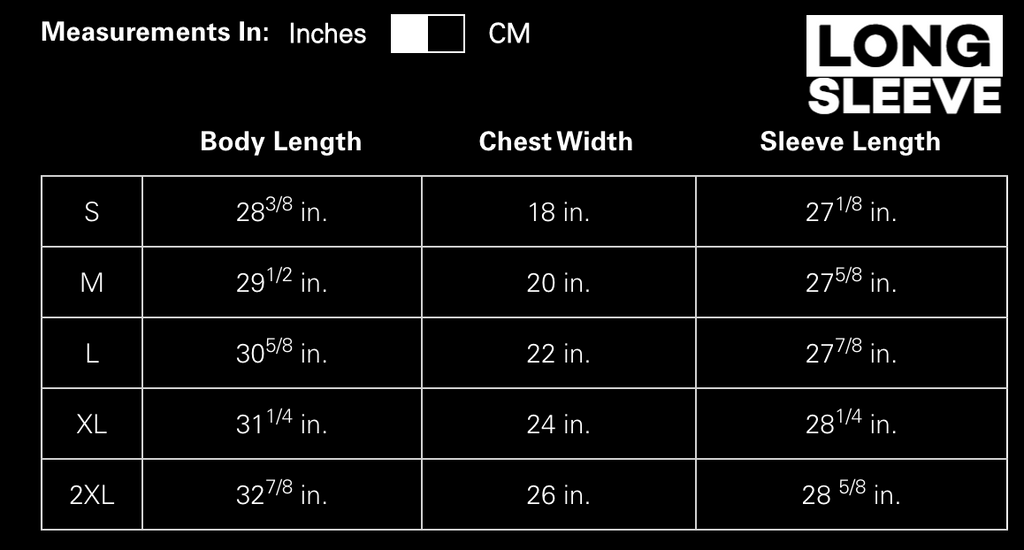 Long Sleeve Size Chart