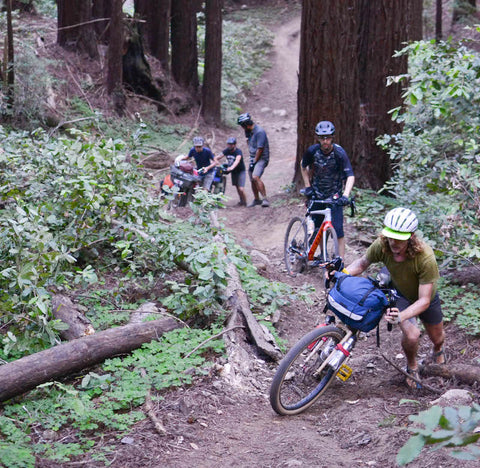 Road Runner Bags Bike Packing and Bike Touring Bags being tested to the limits in the Redwood forest