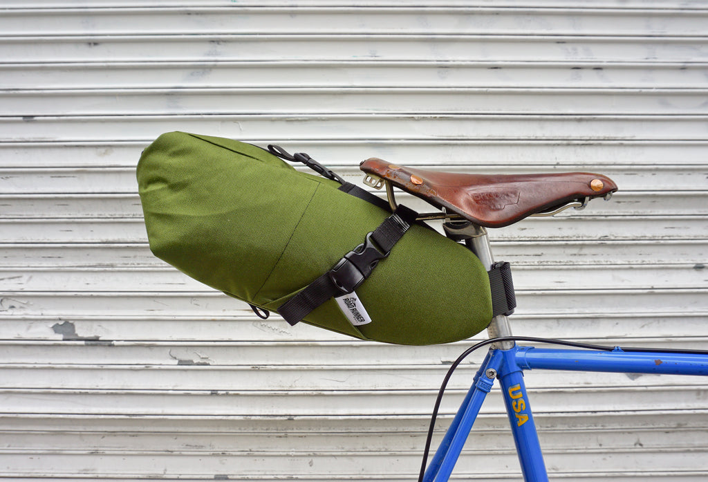 Road Runner Bags XL Fred Saddle Bag for Bike Packing, Bike Touring and Bike Camping in Olive Cordura