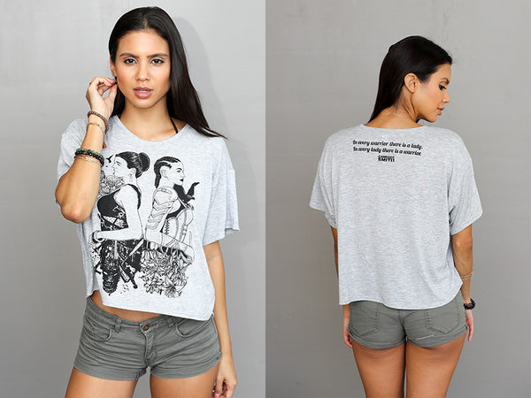 Lady Warrior- Flowy Tee (Heather Grey)