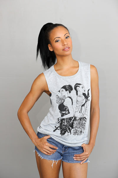 Lady Warrior - Muscle Tank (Heather Grey)