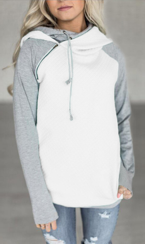 White Block Zipper Hoodie Sweatshirt