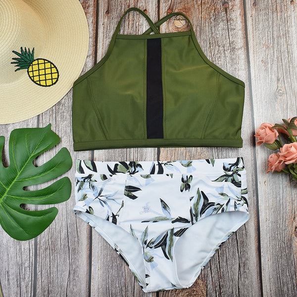 Olive Green Tank Bikini Sets