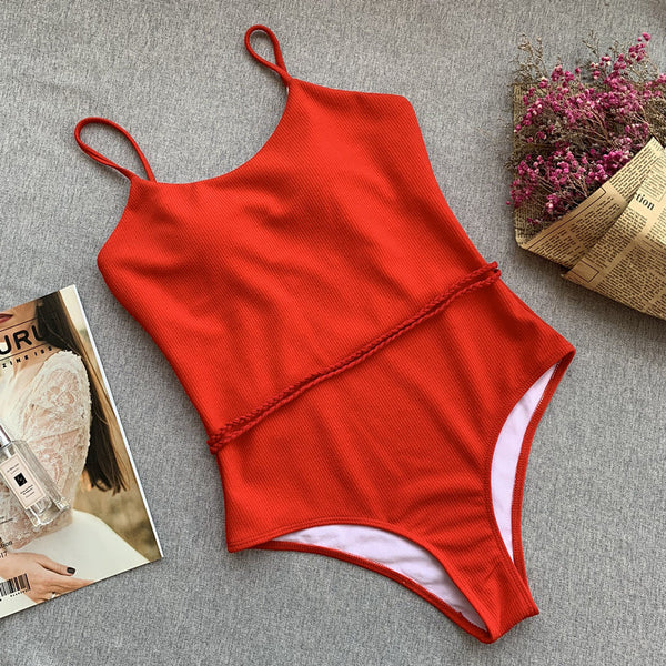 Solid Red Textured Backless Swimsuit