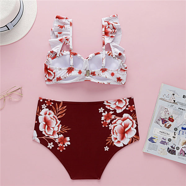Retro Red Floral Frill Bikini Set