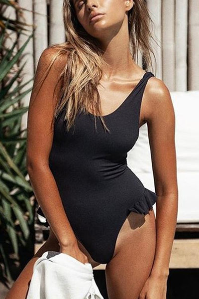 Solid Ruffle One Piece Swimwear