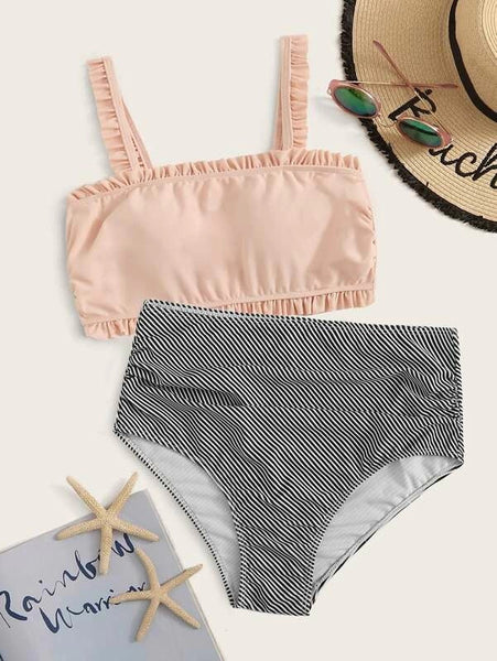 Peach Pink Frill Striped Bikini Sets