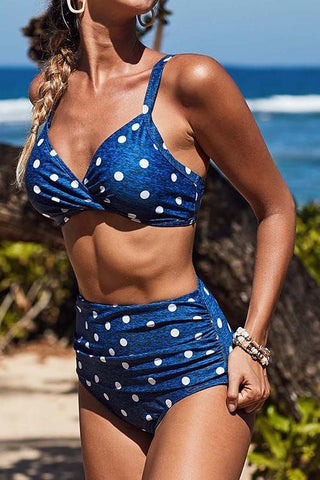 Dot Print High Waist Bikini Set
