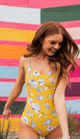 Yellow Floral Silhouette One Piece Swimsuit