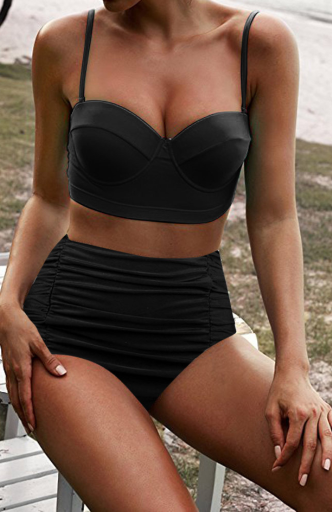 Black Push Up High Waist Bikini Sets