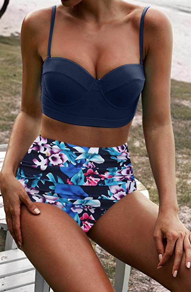 Navy Floral Push Up High Waist Bikini Sets-Multi Colors