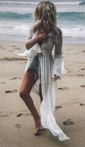 White Waist-Tie Beach Cover-Up Dress