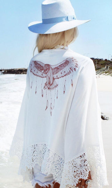 White Lace Paneled Chiffon Beach Cover-Up