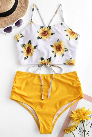 Yellow Sunflower High-Waisted Bikini Sets
