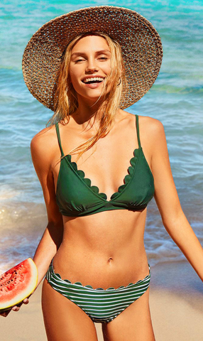 Green Striped Triangle Scalloped Bikini Suits