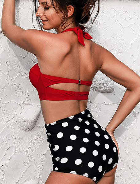 Red Push Up Dotted High Waist Bikini Sets