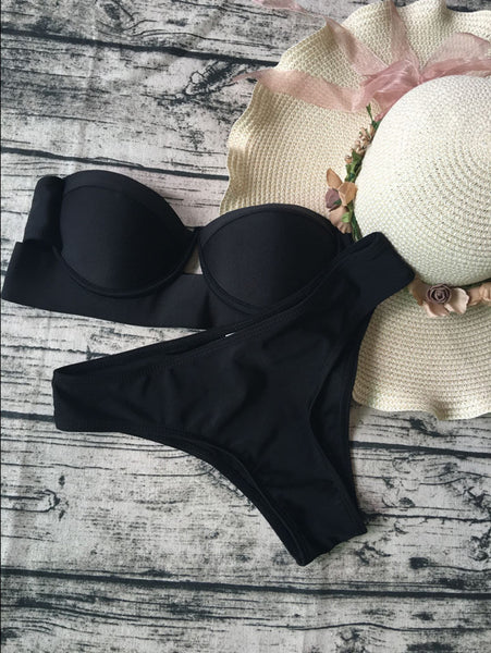 Black Push Up Strapless Bikini Bathing Suits