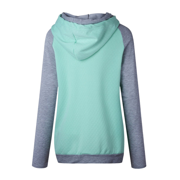 Mint Green Block Zipper Hoodie Sweatshirt