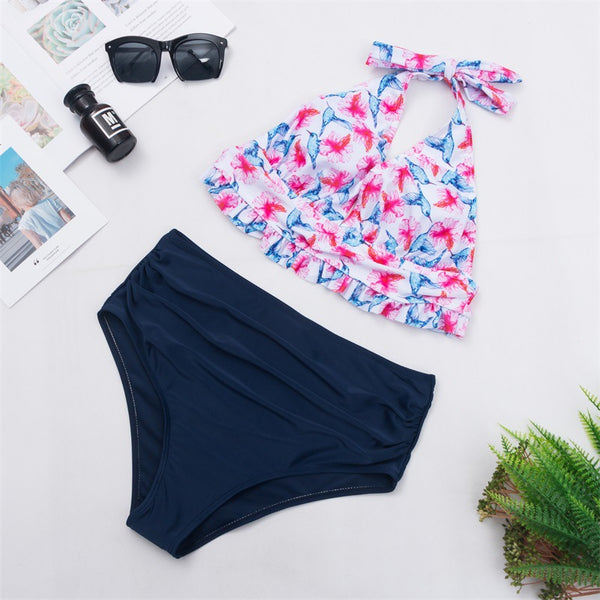 Pink Floral Halter High-Waisted Bikini Sets