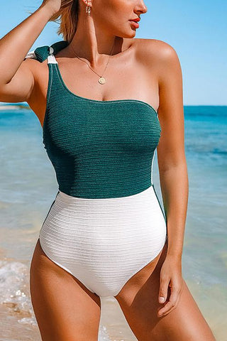 Color Block Knot One Shoulder Swimwear